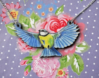 Flying Blue Tit Bird Necklace - Illustrated Wooden Jewellery