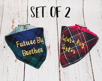 Pregnancy Announcement- Baby Announcement- Plaid Dog Bandana- Baby Reveal- Plaid Big Brother Bandana- Future Big Brother- Future Big Sister