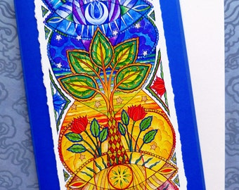 Fine Art Greeting Card, Sunseed Moonflower Hand Made, Archival Reproduction of an original watercolor painting.