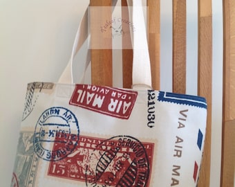 Airmail Tote Bag     -  Gift for Her, Gift for Wife, Gift for Women , Gift for Mum, Gift for Him