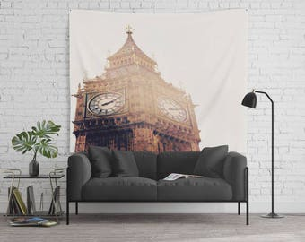 Big Ben Tapestry  - 68x80 -  Travel Photography - Photo Backdrop - Apartment Decor - Affordable Wall Art