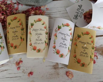 5 packs of Floral personalised wedding tissues. Ready made.