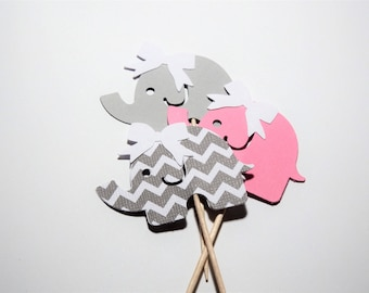 24 Pink and Gray Elephant with Bow Cupcake Toppers,Baby Shower,1st Birthday,Gender Reveal,Baby Girl