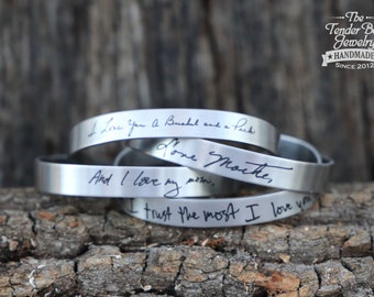 Engraved Handwriting Stainless Cuff Bracelet Personalized Handwritten message bracelet Handwritten message cuff Engrave your handwriting