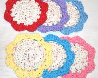 6 Crochet Flower coaster mini doily Bright Festive colors  cotton