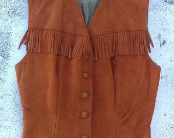 Vintage western fringe vest