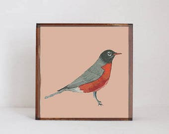 forest nursery decor,  woodland nursery, robin bird wall art- nursery art- rustic kids room decor- neutral nursery- art block -redtilestudio