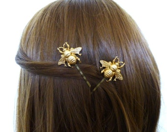 Gold Bee Bobby Pins Girls Hair Clips Insect Nature Inspired Garden Fairy Bride Bridal Rustic Wedding Accessories Unique Womens Gift For Her