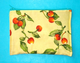 LAST ONE! Sweet Cherries Rockabilly Soft Flannel Printed Zippered Clutch Purse