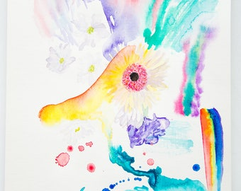 Abstract Original Watercolor Painting Artwork by AliiArtColors