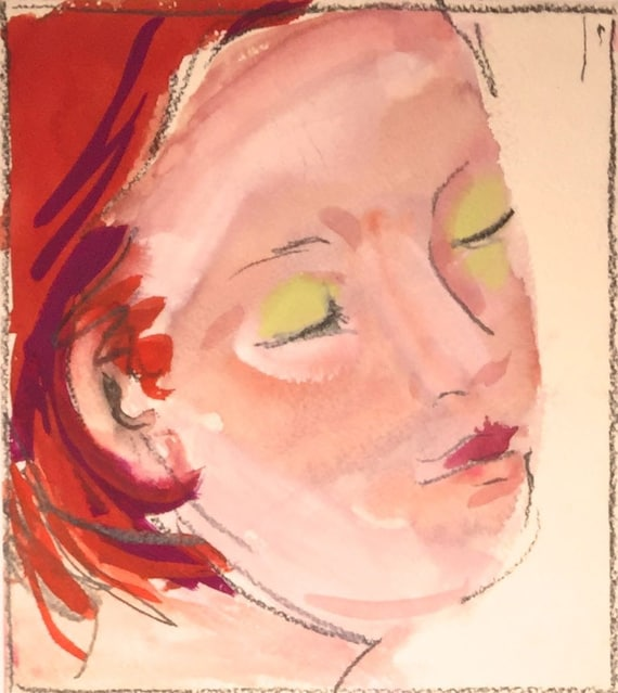 Green Eyeshadow portrait- original watercolor portrait painting by Gretchen Kelly