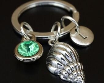 Sea Shell Keychain, Custom Keychain, Custom Key Ring, Sea Shell Key Chain, Sea Shell Charm, Sea Shell Pendant, Seashell Keychain, Nautical