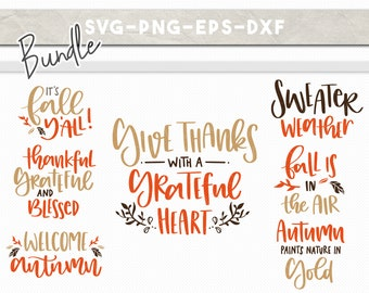 fall svg bundle, handlettered svg, autumn fall quotes clipart, dxf png, svg files for cricut, fall sayings svg, silhouette cameo cut files