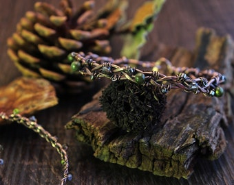 "Naked aged and green ""forest light"" wire wrap copper bracelet"