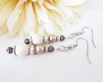Boho Earrings Sterling Silver, Clip On Nickel Free Earrings, Gift for Her, Bohemian Jewelry Beaded Dangle Earrings, Hippie Earrings Handmade