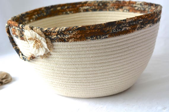 Artisan Rope Basket, Handmade Coiled Fiber Basket, Hair Brush Organizer, Large Quilted Fabric Basket, Bathroom Decor
