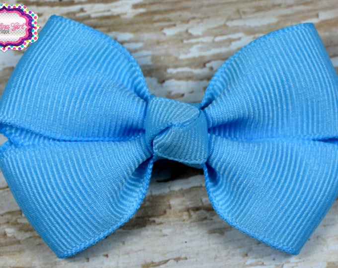 Blue Hair Bow 2.5 Inch Pinwheel Boutique Bow for Babies Toddlers Girls Hair Bows