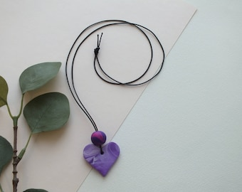 Lavender and Plum Heart Clay Necklace with Plum and Magenta Bead