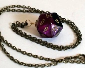 Purple Dice Pendant - Purple and Black Swirl D20 Twenty Sided Dice Necklace - Geeky Gamer Jewelry