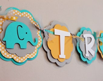 Elephant It's a Boy or Name Banner Turquoise Yellow and Gray Baby Shower Birthday Banner Baby Boy