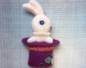 Rabbit the Magician Needle-felt Wool Brooch
