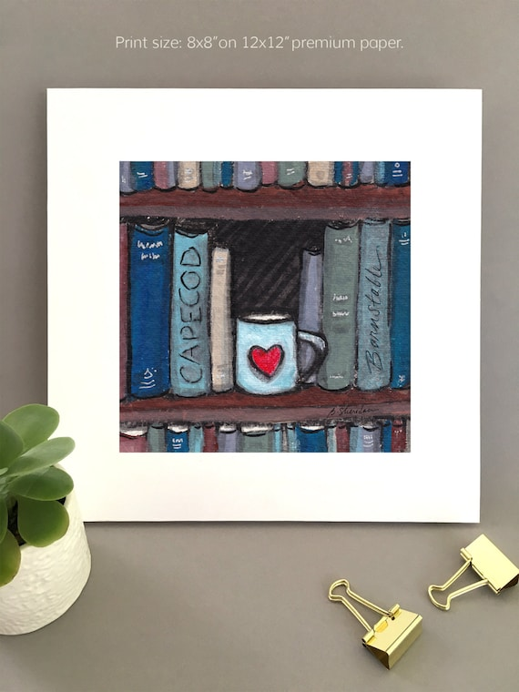 Art print for Book lover, book lover gift idea,  1st anniversary art, cape cod art charming artwork for her, art for my house FREE Shipping