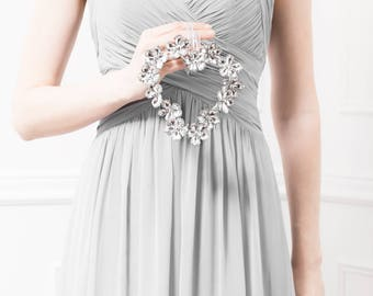 Silver Flower Heart Bridesmaid Bouquet - Silver Flower Wedding Bouquet - Silver Bouquet, Flower Bouquet, Fabulous Bouquet for Bridesmaids