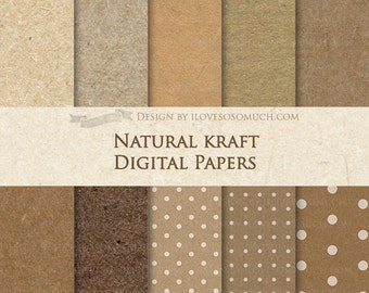 Natural Kraft Digital Paper Pack - Instant Download - DP065