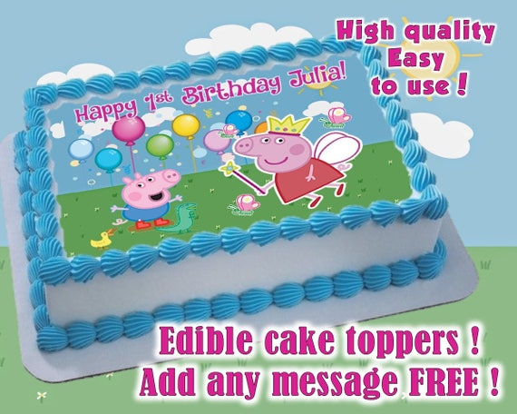 Peppa Pig Birthday cake toppers edible print Sugar sheet
