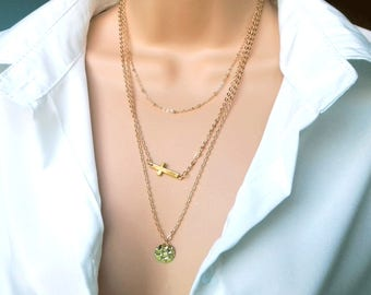 Gold Layer Necklace   layering necklace   gold necklace   layer necklace   layered necklace set   dainty gold necklace   delicate necklace