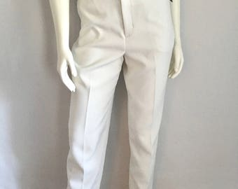 Vintage Women's 80's Unworn, White, Polyester Pants, High Waisted, Tapered Leg by Haggat (L)