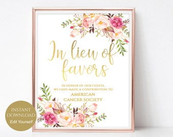 In Lieu of Favors Sign Donation Sign Favors Sign Favors Wedding Sign Wedding Favors PDF Instant Download DIY 8x10, 5x7, 4x6 Pastel Blooms