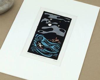 SALE - Turmoil - Boat - Sea - Sailing - Moon - Storm - Waves - Linocut Printmaking - Block Print - Wall Art - Black and White - 5x7