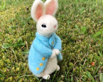 Needle Felted White Rabbit Mr. Tully the Gentleman  Figure