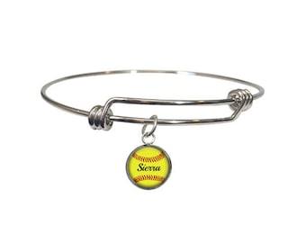 Softball Bracelet, Personalized Adjustable Bangle, Softball Gift, Sports Jewelry, Softball Mom, Softball Player