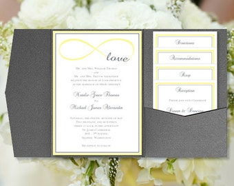 Diy pocket wedding invitations its love navy diy pocketfold wedding invitations infinity love yellow gray printable templates instant download order solutioingenieria Choice Image