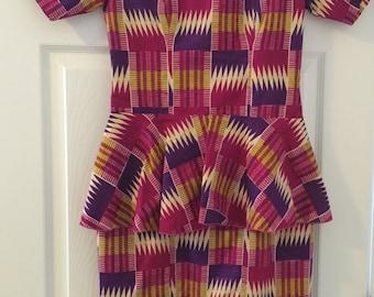 Handmade Ghanian Fabric Peplum Dress