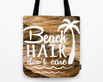 Beach Hair Don't Care, Nautical Tote Bag For Women, Boating Gifts For Her, Beach Bag For Kids, Nautical Photography, Honeymoon Tote Bag