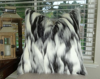 Gray Black White Faux Fur Throw Pillow - Tibet Fox Fur Pillow Cover - Black Grey White Faux Fur Pillow - Faux Fur Sham - Fur Sham - 17438