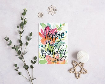 "Birthday Card - Watercolor 29ish | 5x7"" A7 Greeting Card 