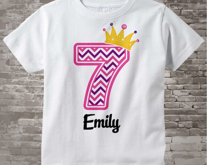 Seventh Birthday Shirt, Pink Chevron 7 Birthday Shirt, Any Age Personalized Girls Birthday Shirt Pink Age and Name Tee for kids 10302014c
