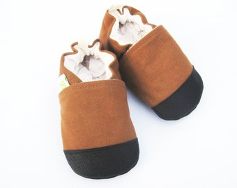 Organic Vegan Heavy Canvas Nutmeg / non-slip soft sole baby shoes / made to order / Babies Toddler Preschool