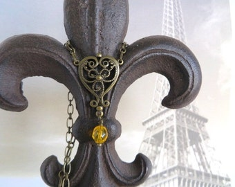 Filigree Heart Necklace With Golden Yellow Vintage Glass Bead