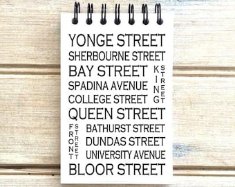Toronto Ontario - Love This Place - Street Name Notebook - Notepad Journal Custom Gift - Canada Busroll