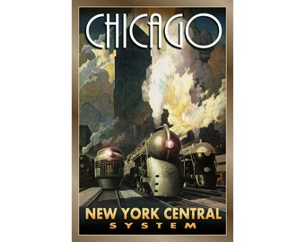 CHICAGO New York Central System Streamliners - New Poster -in 3 sizes -Henry Dreyfuss Retro Railroad Train Leslie Ragan Art Deco Print-245