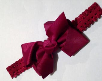 "Burgundy 4.5"" Hair Bow on Alligator Clip with Burgundy Lace Headband"
