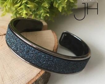 Brass Bangle cuff galvanized GUNMETAL / fancy Ribbon Insertion glittery blue-black / silver black and blue / gold bracelet
