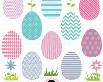 """Easter Egg Clip Art,""""EASTER EGG""""clip art,Easter Clipart,Egg,Aqua,Flower,Teal And Pink,Polka Dot ,Stripes,Easter Egg,Instant Download Est003"""