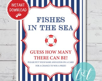 "Nautical Baby Shower Ahoy It's a Boy ""Fishes in the Sea Sign"" Instant Download"