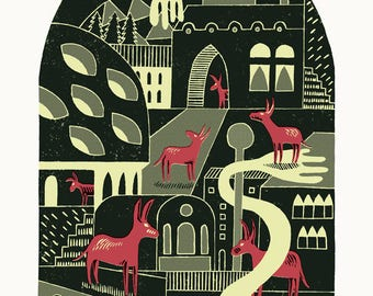 The Donkey Village A3 3-colour linocut / screen-print in red, yellow and grey